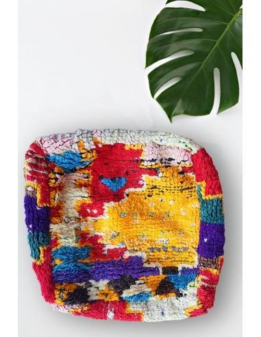 Vintage square colored wool pouf
