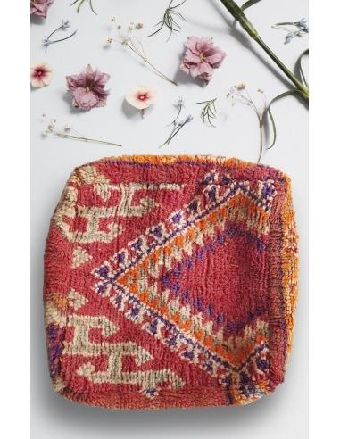 Pouf carré vintage en laine Motifs...