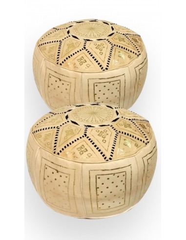 Pack 2 golden leather poufs