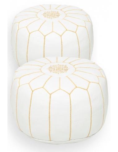 Pack 2 poufs en cuir blanc & jaune