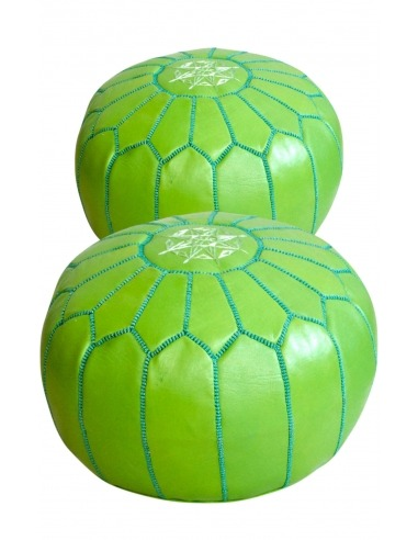 Pack of 2 green leather poufs